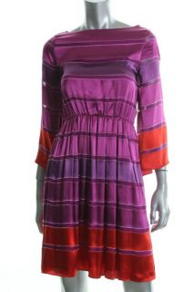 Alice Olivia Purple Silk Striped Bell Sleeves Casual Dress M BHFO