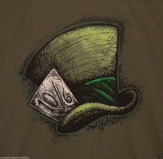 Disneys Mad Hatter Hat Alice in Wonderland T Shirt Brand New