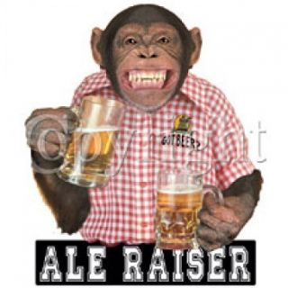 Ale Raiser Beer Drinking Monkey Funny All Sizes Color