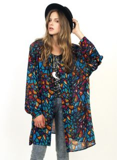 Vtg 80s Stained Glass Graphic Print Oversized Blouse Shirt Mini Dress