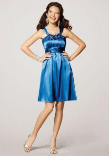 Short Knee Length Mob Mother Bride Groom Dress Size 14 Sapphire Blue