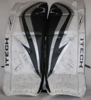 Used Itech RX5 Size 28 Black White Silver Ice Hockey Goalie Leg Pads