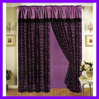 Zebra Stripe Satin Window Curtain Drape Set Sheer Liner Valance