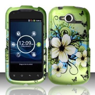 For at T Pantech Burst P9070 Green White Flowers Rubberized Hard Case