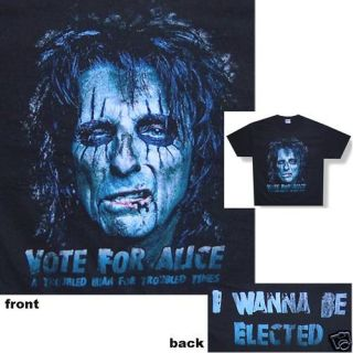 ALICE COOPER VOTE FOR ALICE PRESIDENT BLACK T SHIRT NEW SMALL S