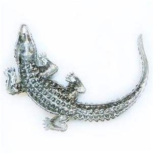 Huge 4 4 Alligator Pin Brooch Rhinestone Crystal Black Crocodile