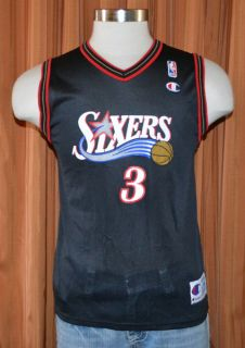 76ers Sixers Allen Iverson 3 Vintage Champion Jersey Youth Boys Large