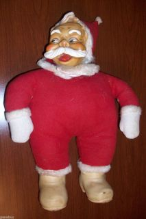 Antique Wrinkled Face Stuffed Santa Clause Vintage CHRISTMAS Ruston