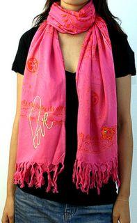 Sir Alistair Rai Gayatri Mantra Love Pink Scarf Wrap GM L12 Brand New