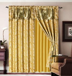 Gold Jaquard Bronze Panel Valance Curtain Drapes Window Set New