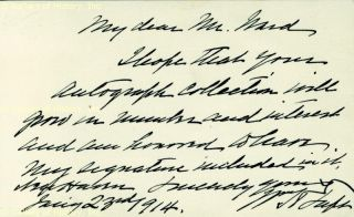 William H Taft Autograph Letter Signed 01 23 1914