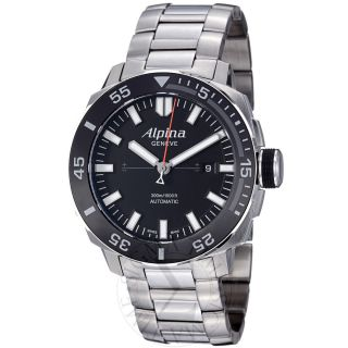 Alpina Mens Adventure Black Dial Stainless Steel Automatic Watch Al