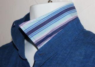 ALFRED DUNHILL $345 RARE BLUE 100% LINEN CASUAL SHIRT XL MINT