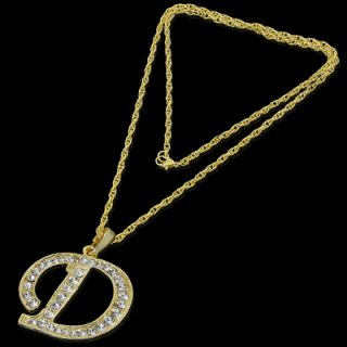 ALPHABET INITIAL LETTER D GOLD PLATED CLEAR CRYSTAL PENDANT CHARM