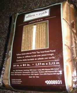 Allen Roth Jamestown Lined Curtain Drapery Drape Panel 50x84 Gold