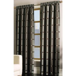 ALLEN ROTH ROSWELL Curtain Drape Rod Pocket Panel Blue Brown Stripe 56