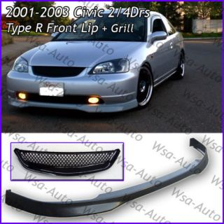 01 03 Civic EM2 JDM Type R Front Lip TR Grill PU 4DRS
