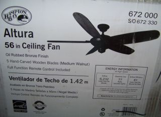 Hampton Bay 56 Altura Ceiling Fan Oil Rubbed Bronze