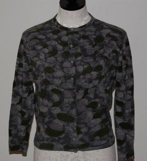Scotland 100% Cashmere Green & Gray Pebbles Print Cardigan Sweater M