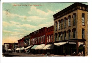 Street Scene Wellsville NY Postcard Allegany County Old 1909