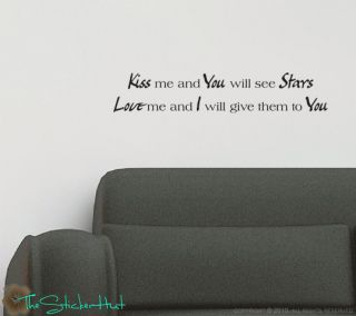 Kiss Me You Will See Stars Wall Stickers Decals 744