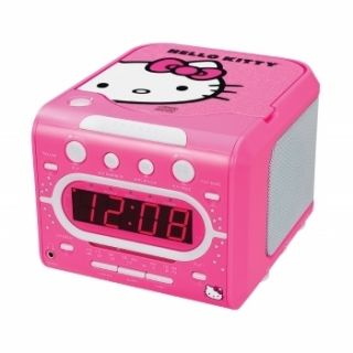 Hello Kitty AM FM Stereo Alarm Clock Radio with Top Loading CD Player