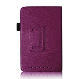 Purple PU Leather Folio Stand Case Cover Stylus for Google Nexus 7