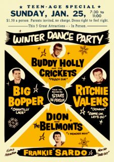 Buddy Holly Big Bopper Winter Dance Party 1959 Poster