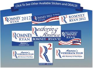 10 s Romney Ryan Americas Comeback Team Bumper Window Stickers UV