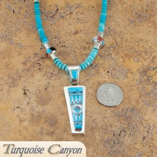 Zuni Native American Turquoise Pendant Necklace Earrings by Edaakie
