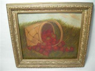 Antique American Folk Art Oil Painting Strawberry Basket 19th Century