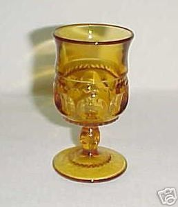 Depression Glass Kings Crown Amber Cordial Goblet