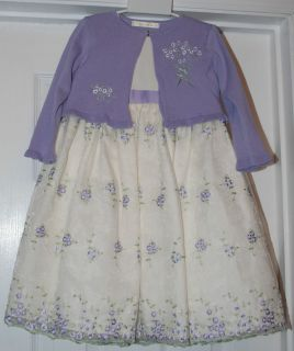 American Princess Toddler Girls Dress Size 2T 2 EUC Mint Purple Cream