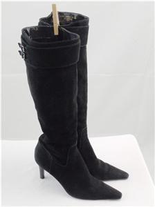RALPH LAUREN ALSTON Womans Black Suede Knee High Boots US 8.5B  SUPER