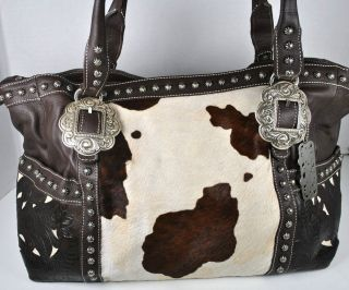 American West Womens Brown Leather Carry on Tote Handbag Purse $389