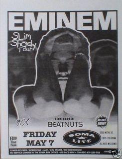 1999 Slim Shady Tour San Diego Concert Poster Rap Hip Hop
