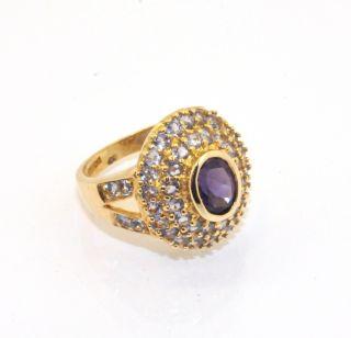Amethyst Gemstone Fancy Set Ring 10K Solid Yellow Gold Size 6 6 3grams