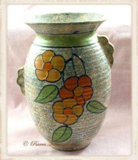 Art Deco Burleigh Ware Vase w Handles Flowers Charlotte Rhead Marked C