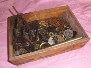 Antique Box Lot Steampunk Brass Gears Cogs Clock Parts Pieces Altered