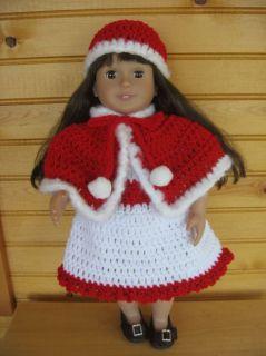 CROCHET CHRISTMAS DRESS SET FOR THE AMERICAN GIRL DOLL   SO CUTE