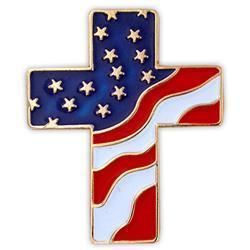 Gold Plated American Flag Cross Lapel Pin Crucifix