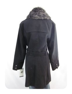 New American Rag Black Faux Fur Felted Military Long Pea Coat 3X $139