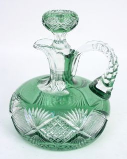 American Brilliant Period Cut Glass Whiskey Decanter Green to Clear