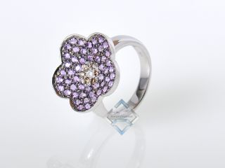 LeVian 18K White Gold Micro Pave Diamond Amethyst Ring
