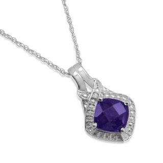 Amethyst and Diamond Pendant Necklace in Sterling Silver 18in Chain