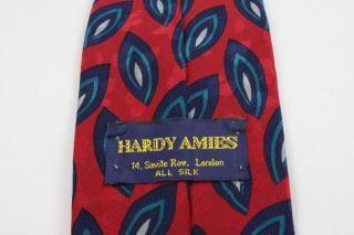 Vtg Hardy Amies London Savile Row Red Silk Necktie Tie