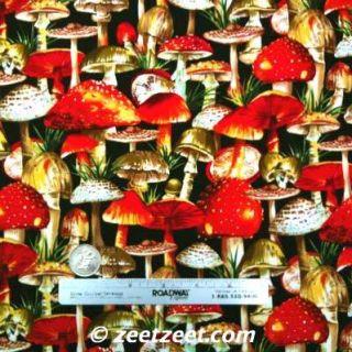 Michael Miller Summer Mushrooms Black Gnome Fabric Yd