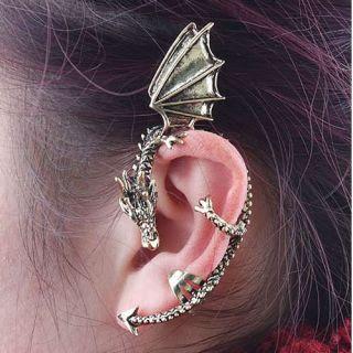 Amazing Fashion Punk Temptation Dragon Shape Curve Stud Earring Cuff 2