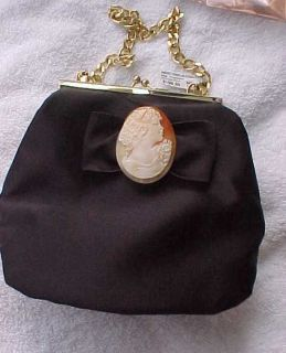 AMEDEO NYC hand carved ITALIAN Gabriella CAMEO black SATIN EVENING bag