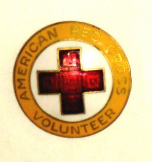 1940s AMERICAN RED CROSS Pin STAFF AIDE VOLUNTEER Pin WWII Era